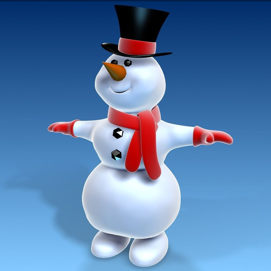 snowman royalty-free 3d model - Preview no. 1