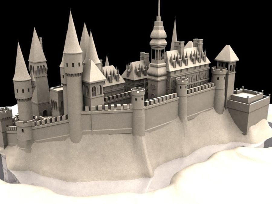 Medieval Castle Fortress With Moat royalty-free 3d model - Preview no. 3