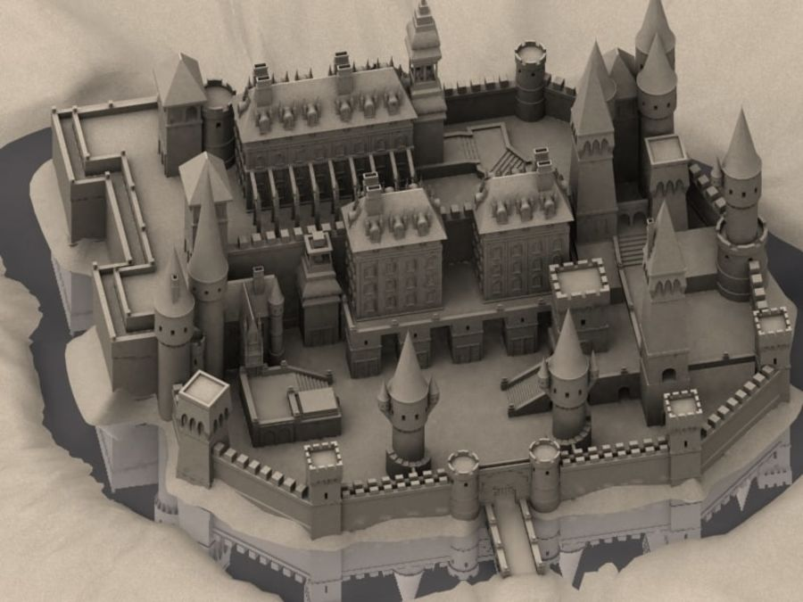 Medieval Castle Fortress With Moat royalty-free 3d model - Preview no. 2