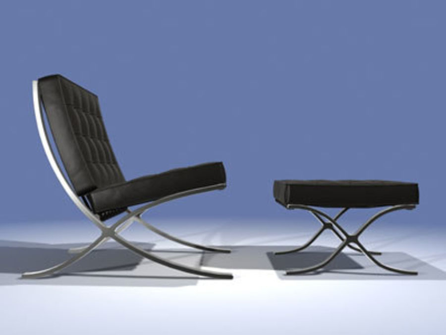 Mies Van Der Rohe Barcelona Chair Ottoman 3d Model 36 Obj Max