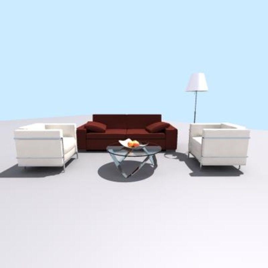 p3d möbel uppsättning royalty-free 3d model - Preview no. 3