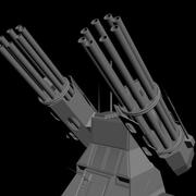 dual heavy chain gun turret 3d model