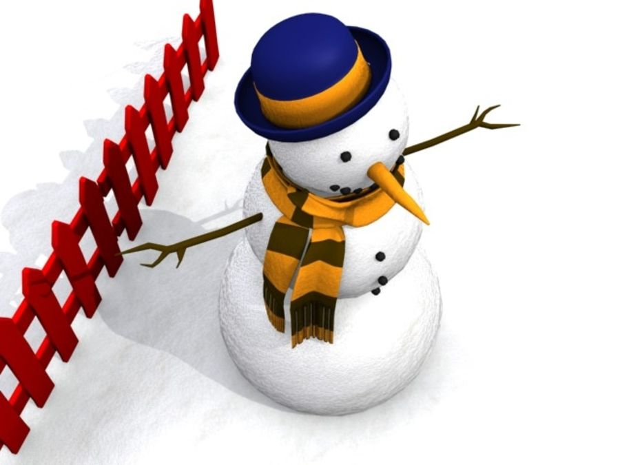 Snowman royalty-free 3d model - Preview no. 9