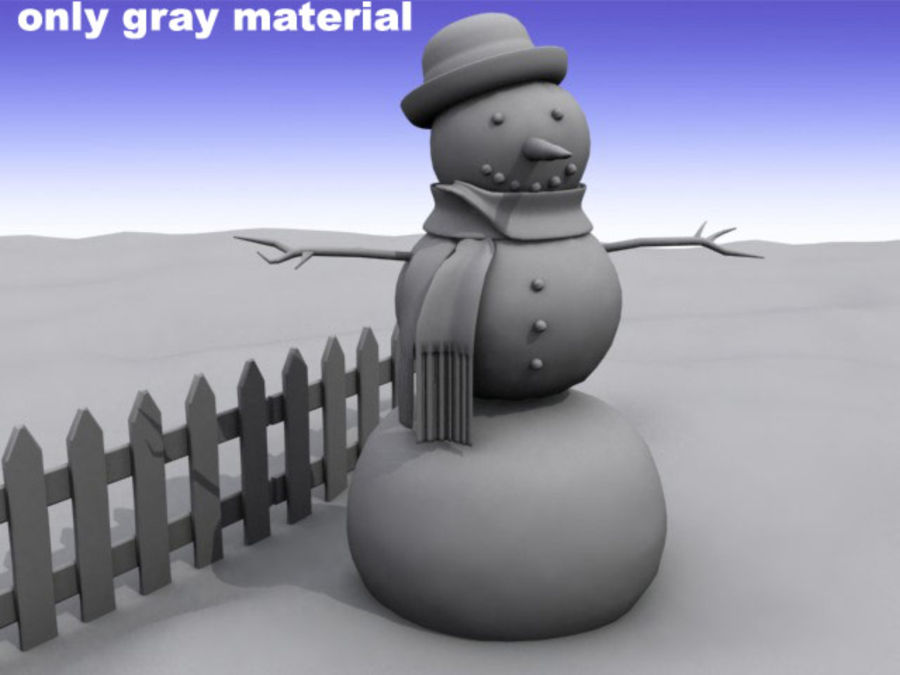 Snowman royalty-free 3d model - Preview no. 7