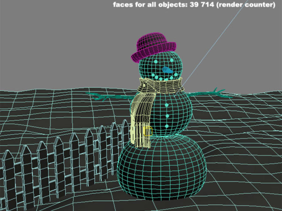 Snowman royalty-free 3d model - Preview no. 12