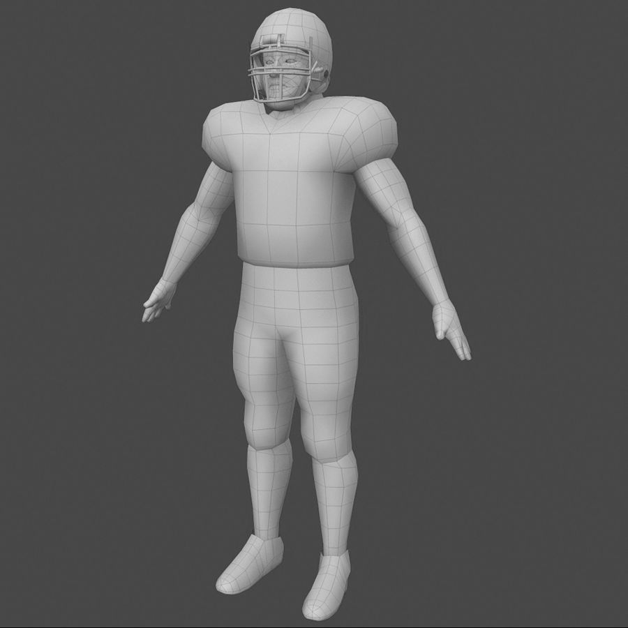 Football Player royalty-free 3d model - Preview no. 4