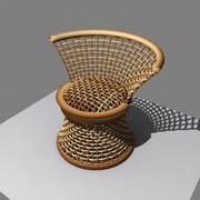 椅子柳条木 3d model