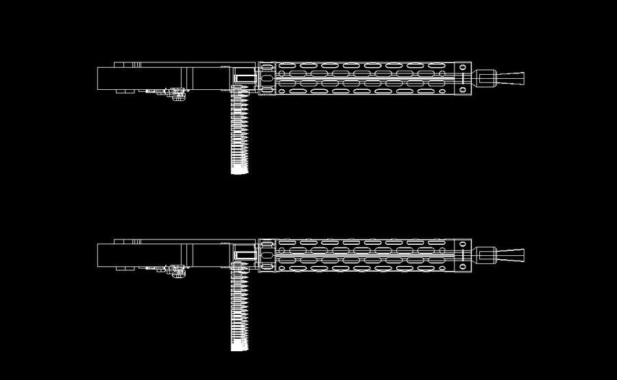 machgun.dwg royalty-free 3d model - Preview no. 5