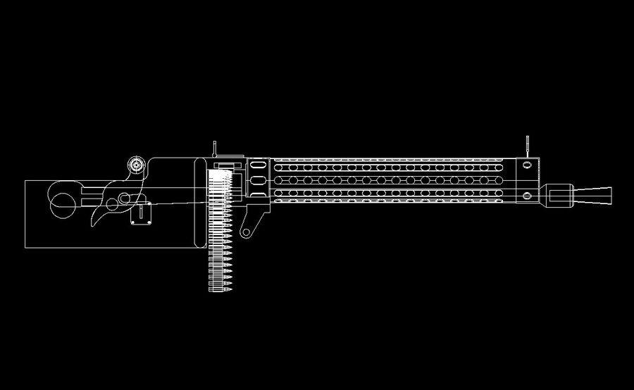 machgun.dwg royalty-free 3d model - Preview no. 4