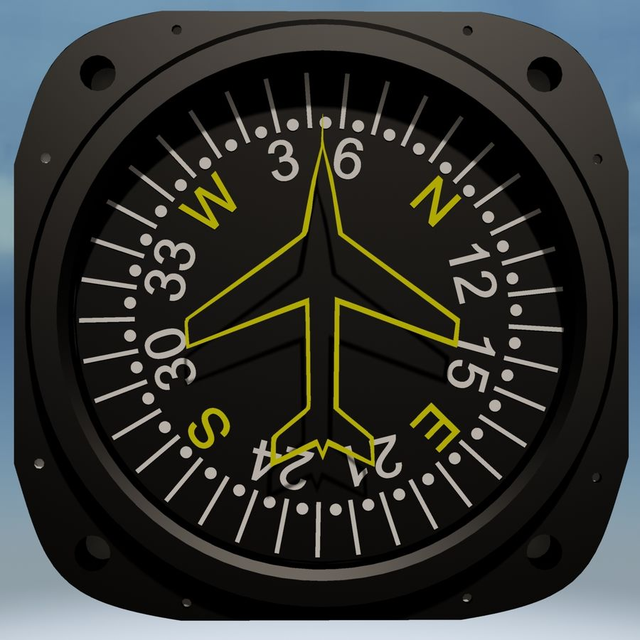 Compass Aircraft Instrument royalty-free 3d model - Preview no. 2