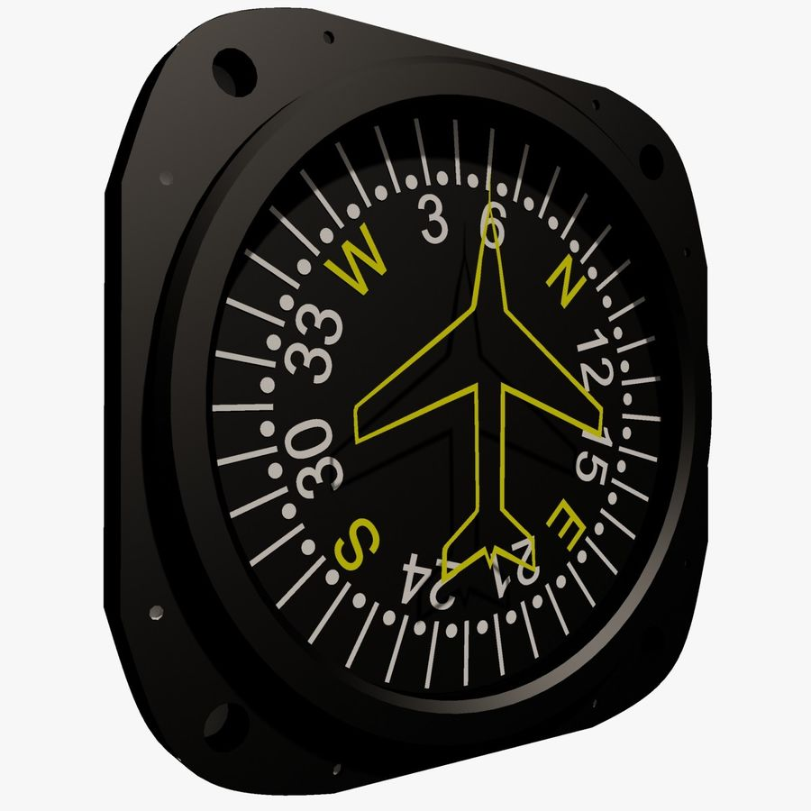 Compass Aircraft Instrument royalty-free 3d model - Preview no. 6