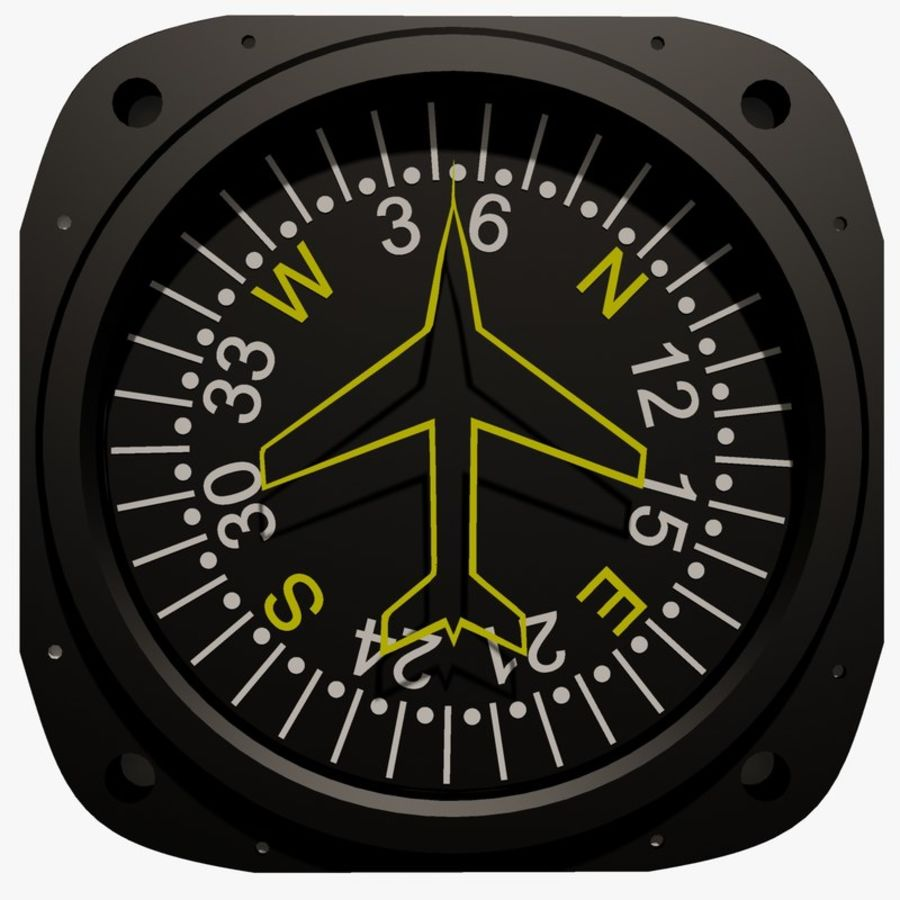 Compass Aircraft Instrument royalty-free 3d model - Preview no. 1