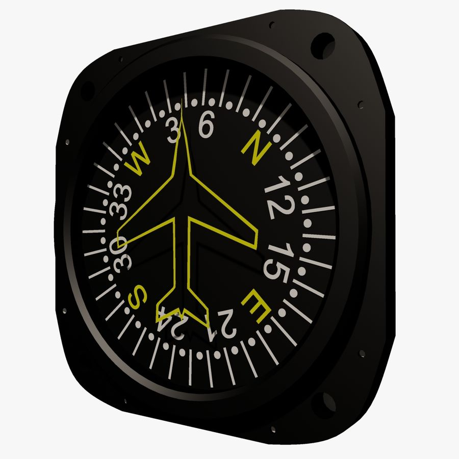 Compass Aircraft Instrument royalty-free 3d model - Preview no. 3