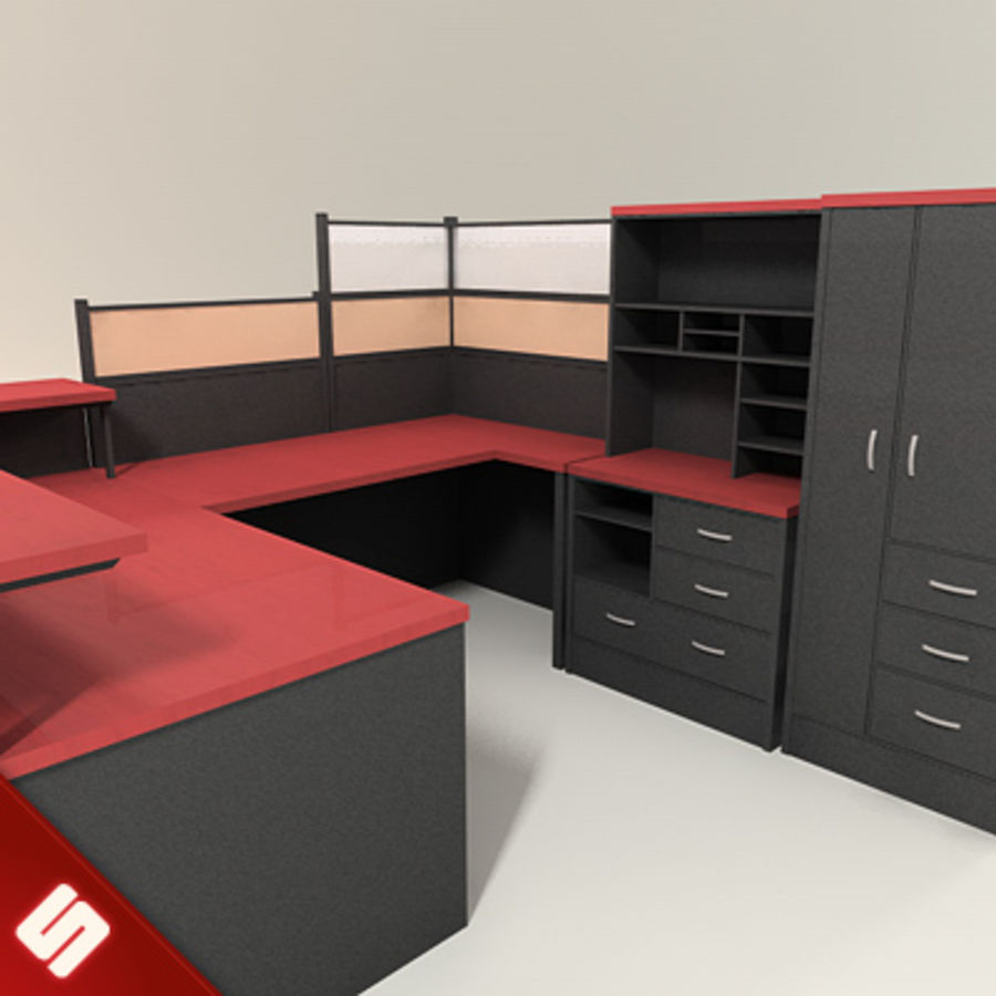 Büro Masası ve Mobilya royalty-free 3d model - Preview no. 3
