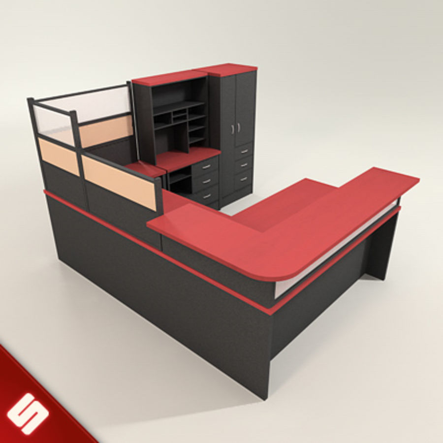 Büro Masası ve Mobilya royalty-free 3d model - Preview no. 6