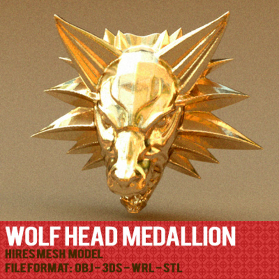 WOLFHEAD MEDALLION royalty-free 3d model - Preview no. 3