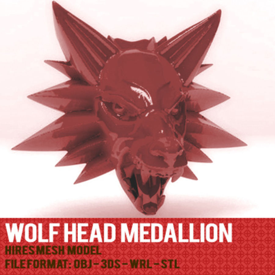 WOLFHEAD MEDALLION royalty-free 3d model - Preview no. 1