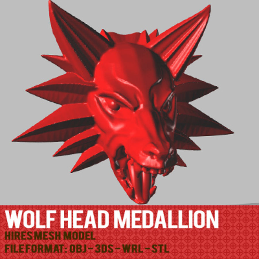 WOLFHEAD MEDALLION royalty-free 3d model - Preview no. 2