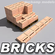 Bricks and pallet 3d model