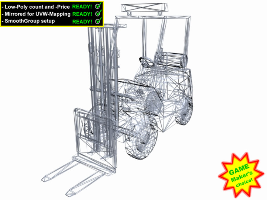 Forklift - Le jeu est prêt! royalty-free 3d model - Preview no. 5