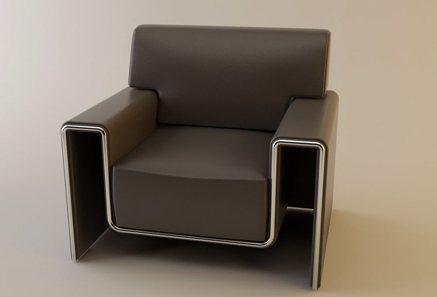 leather armchair royalty-free 3d model - Preview no. 2