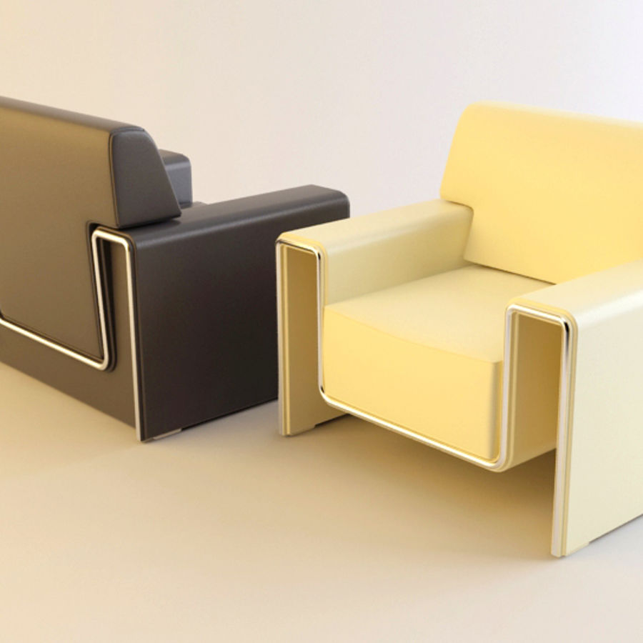 leather armchair royalty-free 3d model - Preview no. 5