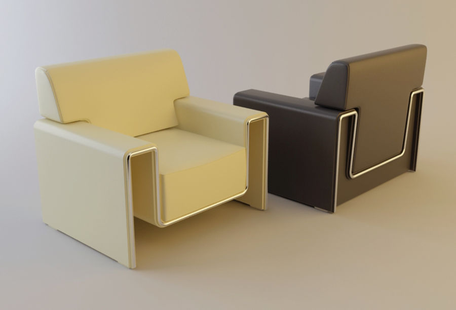 leather armchair royalty-free 3d model - Preview no. 3
