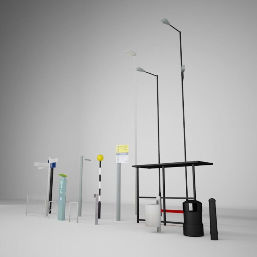 Street Furniture Collection.ZIP royalty-free 3d model - Preview no. 2
