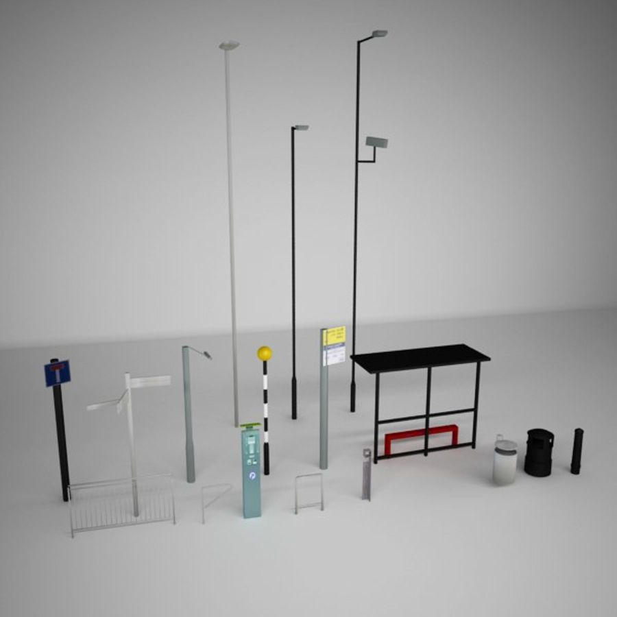 Street Furniture Collection.ZIP royalty-free 3d model - Preview no. 1