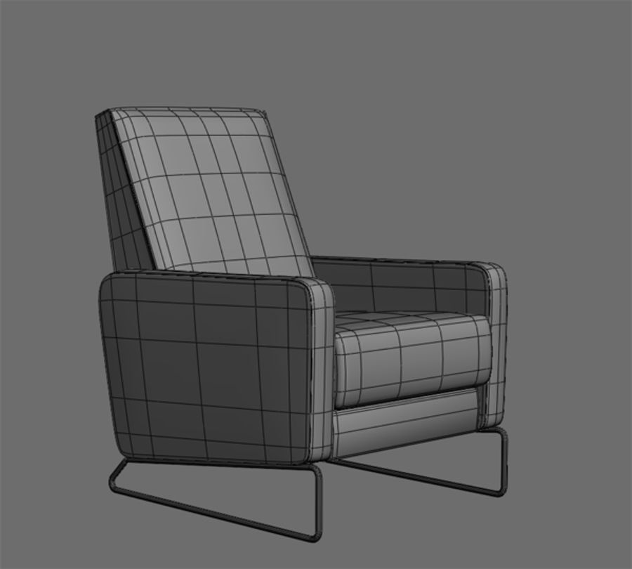 Recliner Flight Chair royalty-free 3d model - Preview no. 2