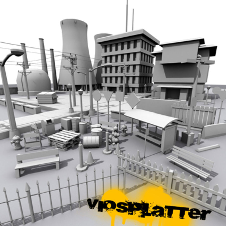 VioSplatter Street Assortment V1.4 royalty-free 3d model - Preview no. 1