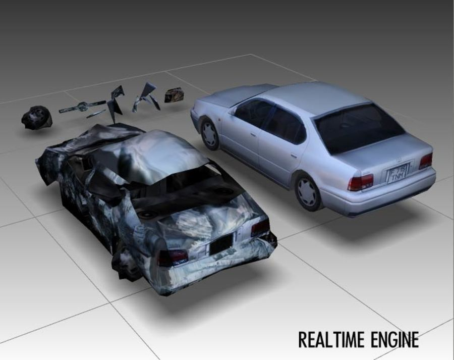 Game car - new and after explosion 3D Model $12 -  max  obj
