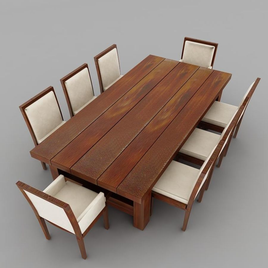 식사 테이블 royalty-free 3d model - Preview no. 7