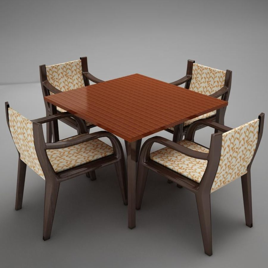 terrace dinning set modern tropic royalty-free 3d model - Preview no. 2