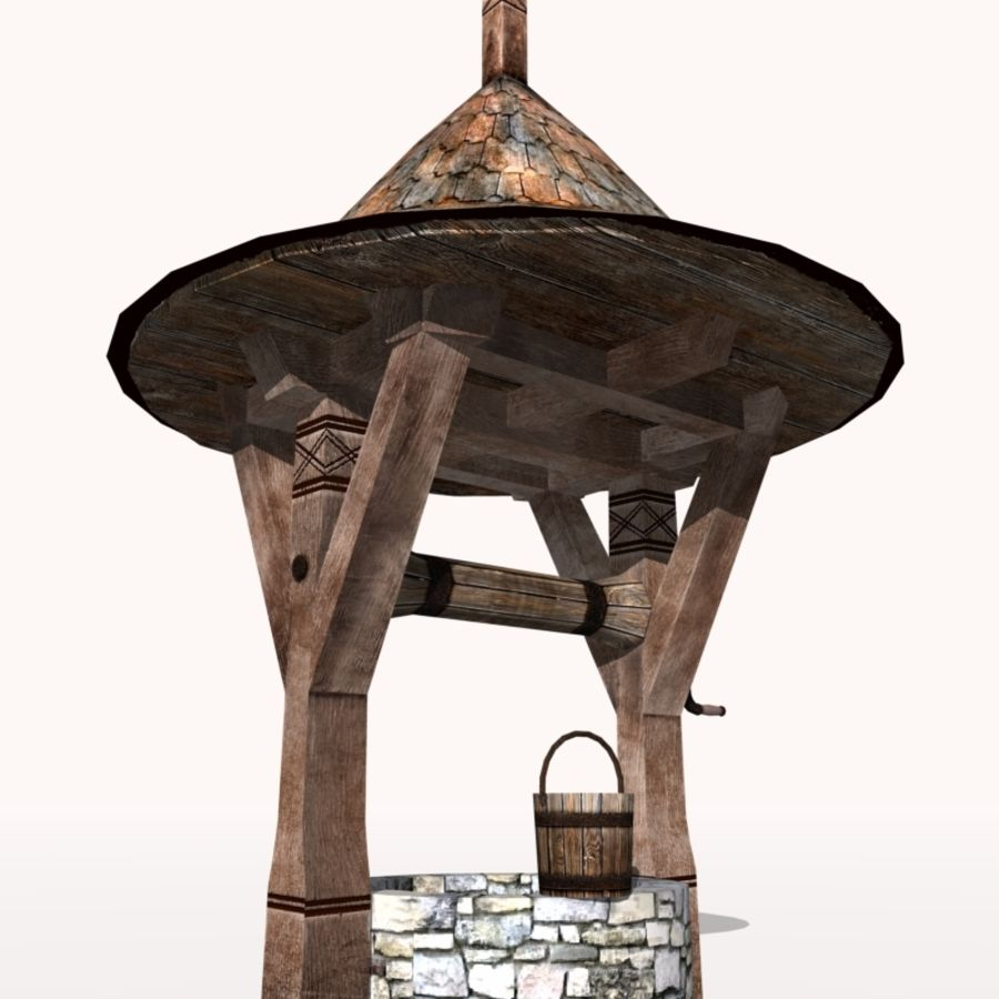Medieval Fountain (well) royalty-free 3d model - Preview no. 6