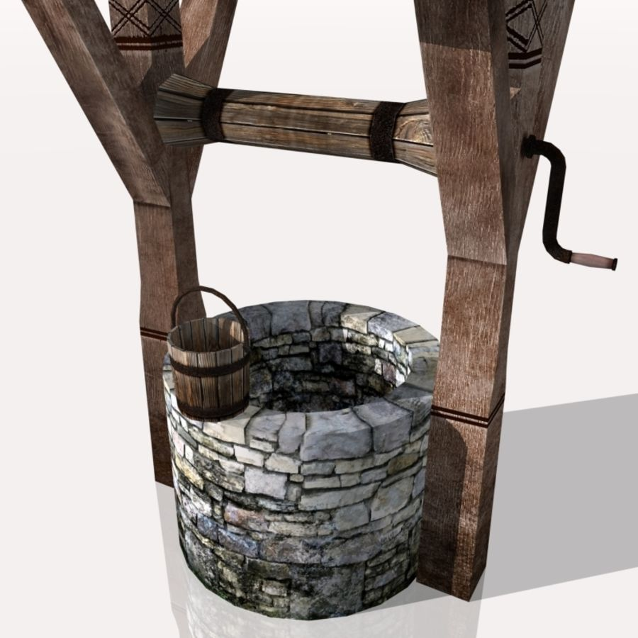 Medieval Fountain (well) royalty-free 3d model - Preview no. 7
