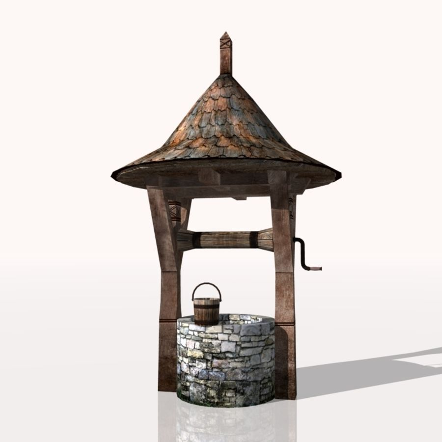 Medieval Fountain (well) royalty-free 3d model - Preview no. 2