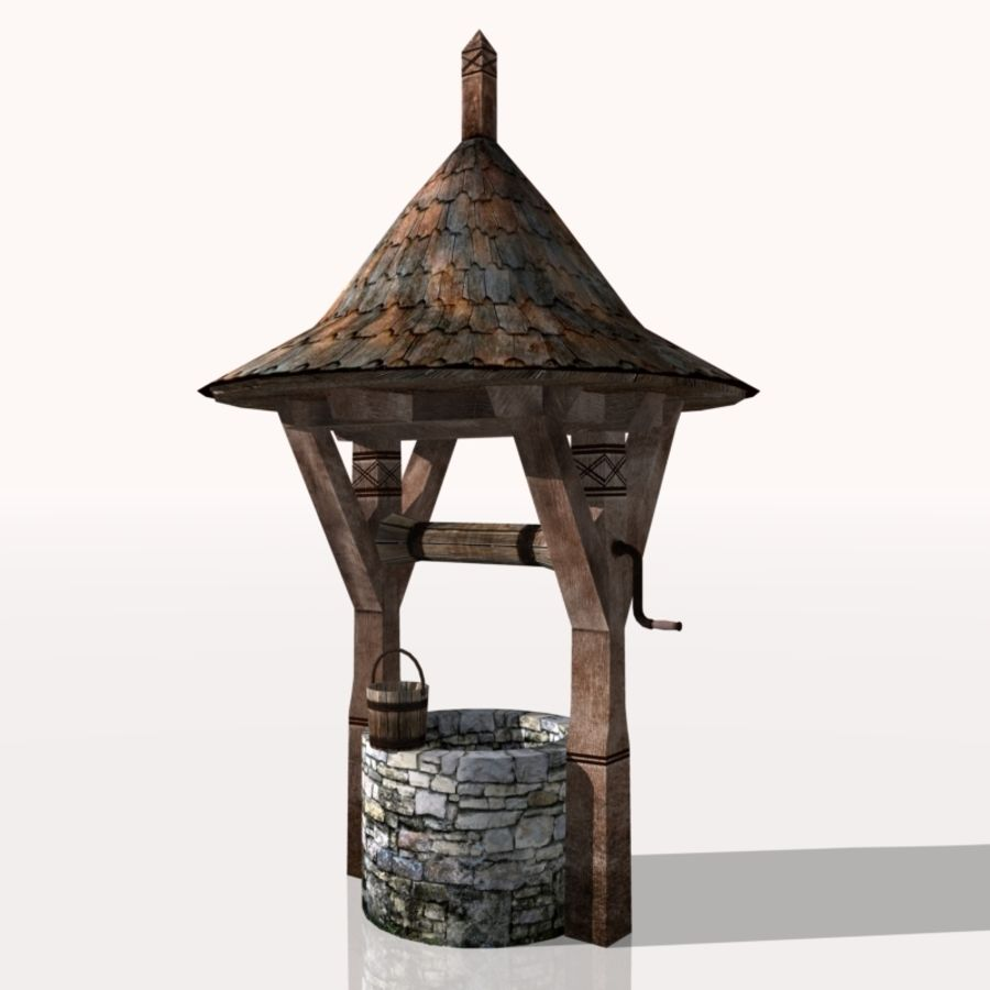 Medieval Fountain (well) royalty-free 3d model - Preview no. 3