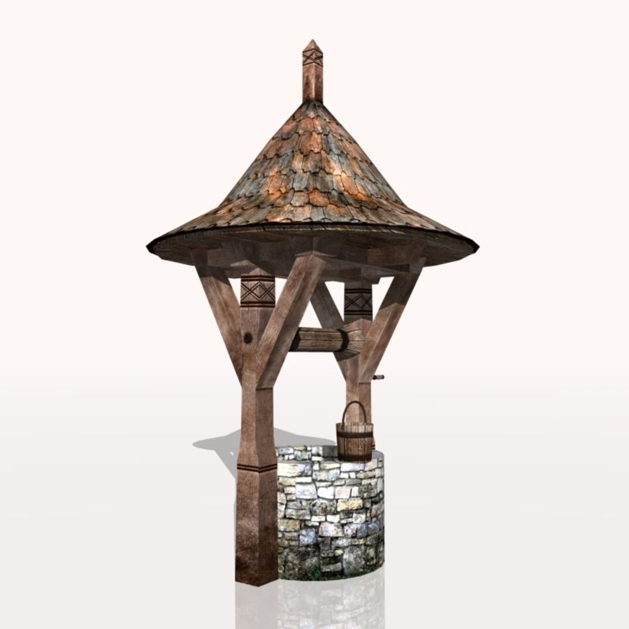 Medieval Fountain (well) royalty-free 3d model - Preview no. 1