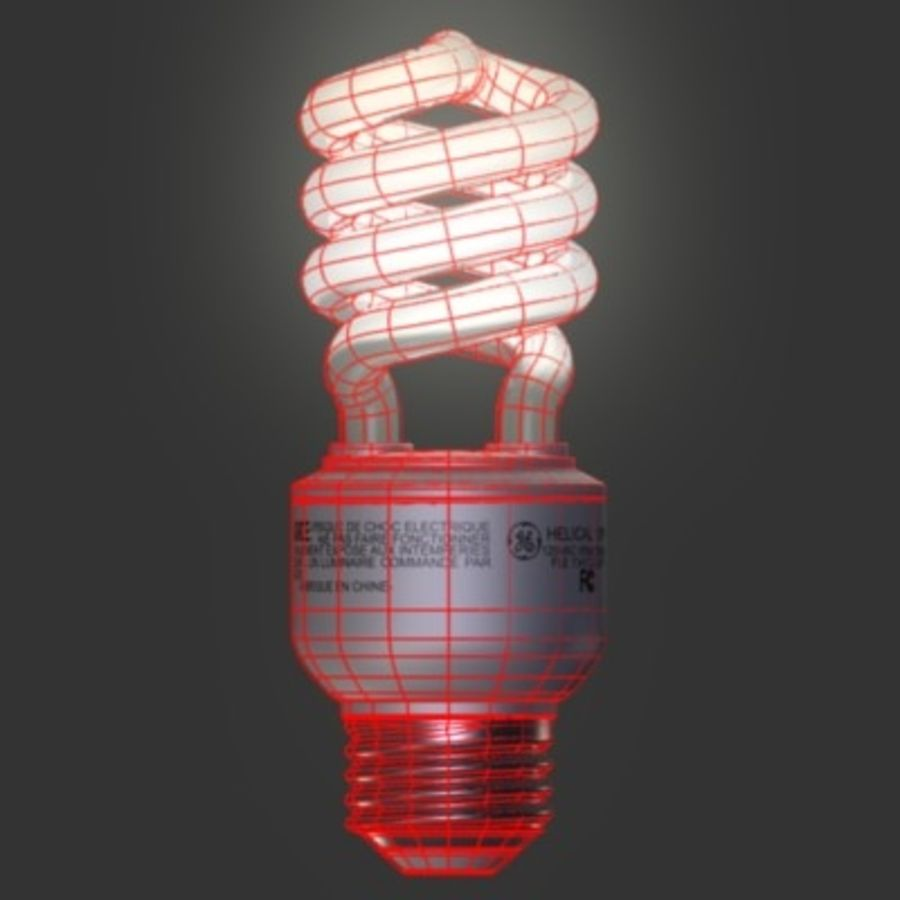 Compact Fluorescent Lightbulb GE Helical 13w CFL royalty-free 3d model - Preview no. 3