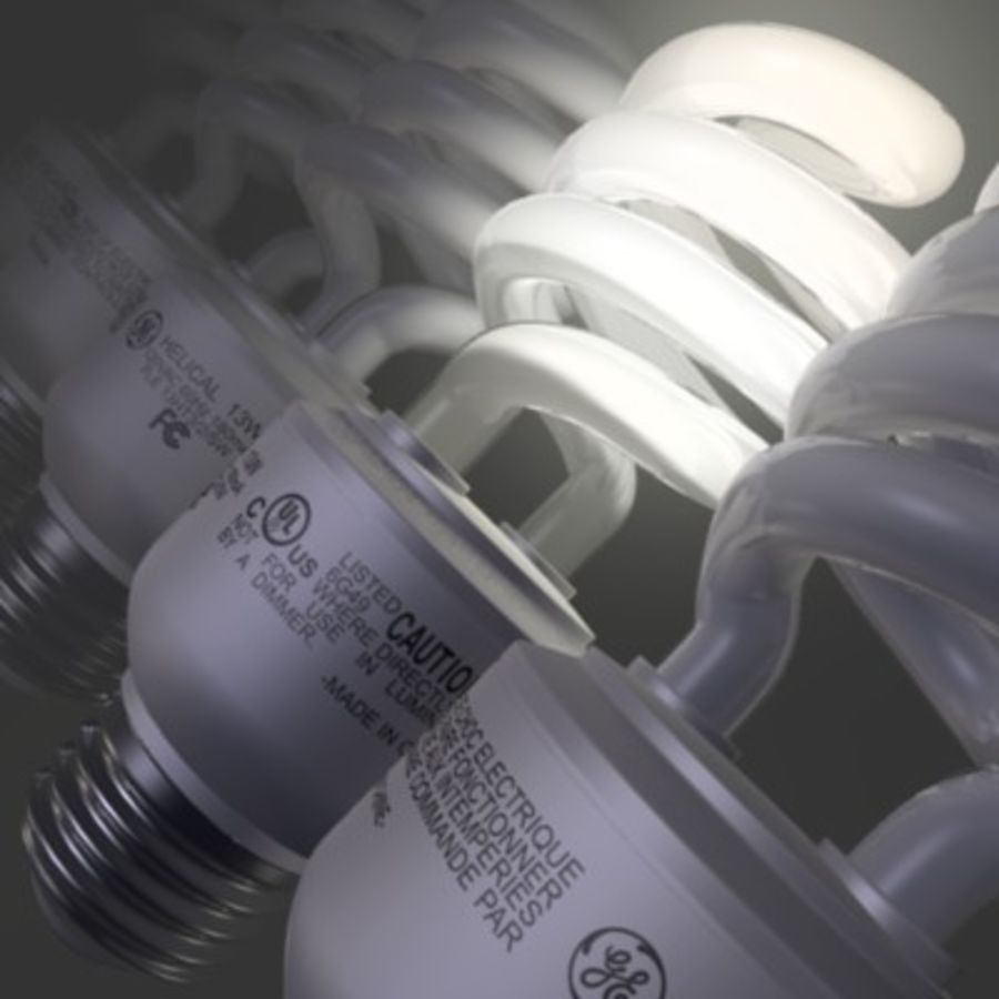 Compact Fluorescent Lightbulb GE Helical 13w CFL royalty-free 3d model - Preview no. 2