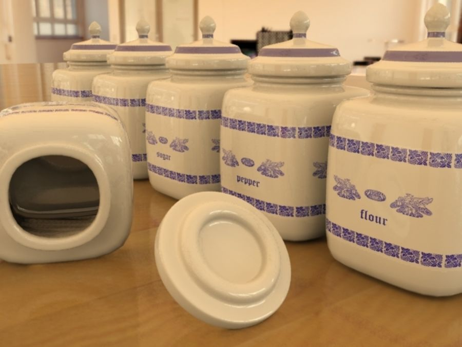 Jars for kitchen royalty-free 3d model - Preview no. 3