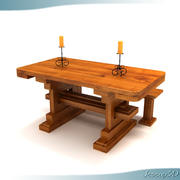 Rustic Old World Style Dinner Table 3d model