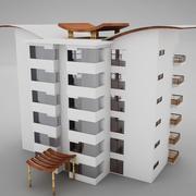 Tropische Aziatische hacienda van de Strandtoren 3d model