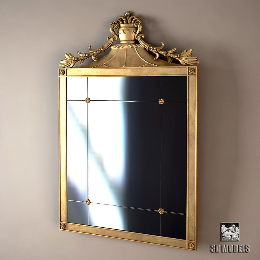 Golden classic gemme mirror 3d model 15 fbx obj max for Mirror 3d model