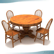 Rustic Round Top Table 3d model