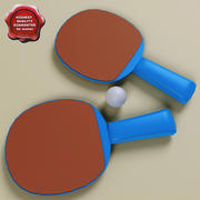 Ping pong paddle and ball 3d model