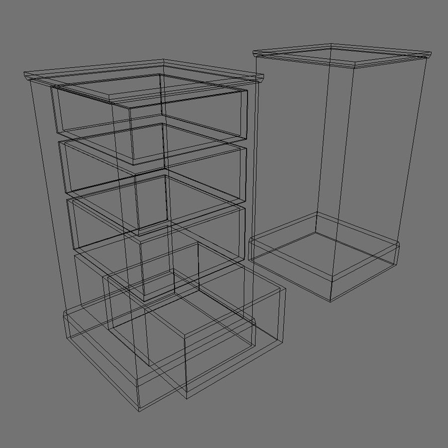 Low Poly Drawer Cabinet 3d Model royalty-free 3d model - Preview no. 3