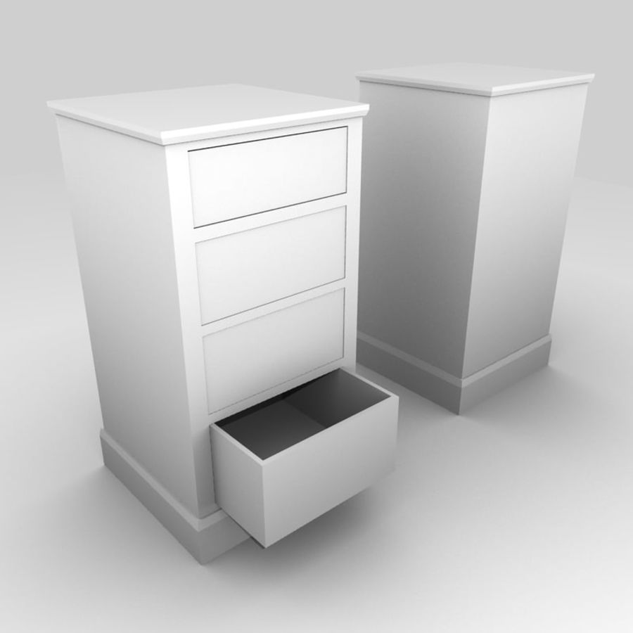 Low Poly Drawer Cabinet 3d Model royalty-free 3d model - Preview no. 2