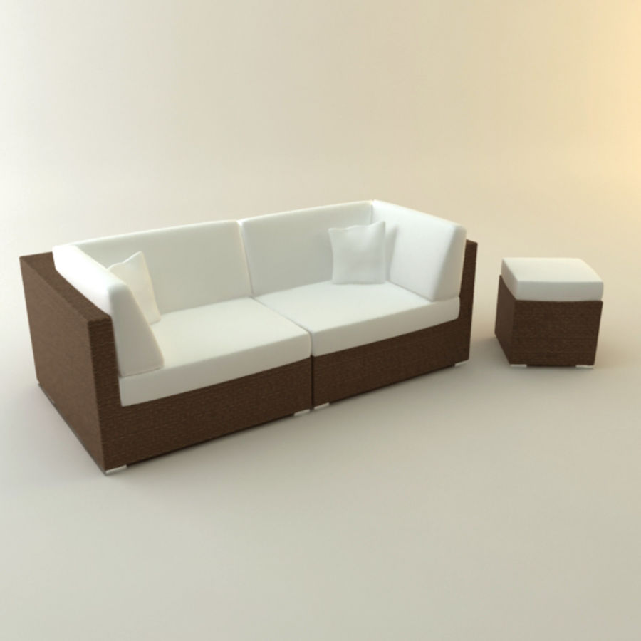 GARDEN COUCH LOUNGER royalty-free 3d model - Preview no. 1